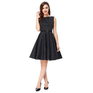 Dresses & Skirts - BlackPolka Boatneck Vintage Tea Belted Dress